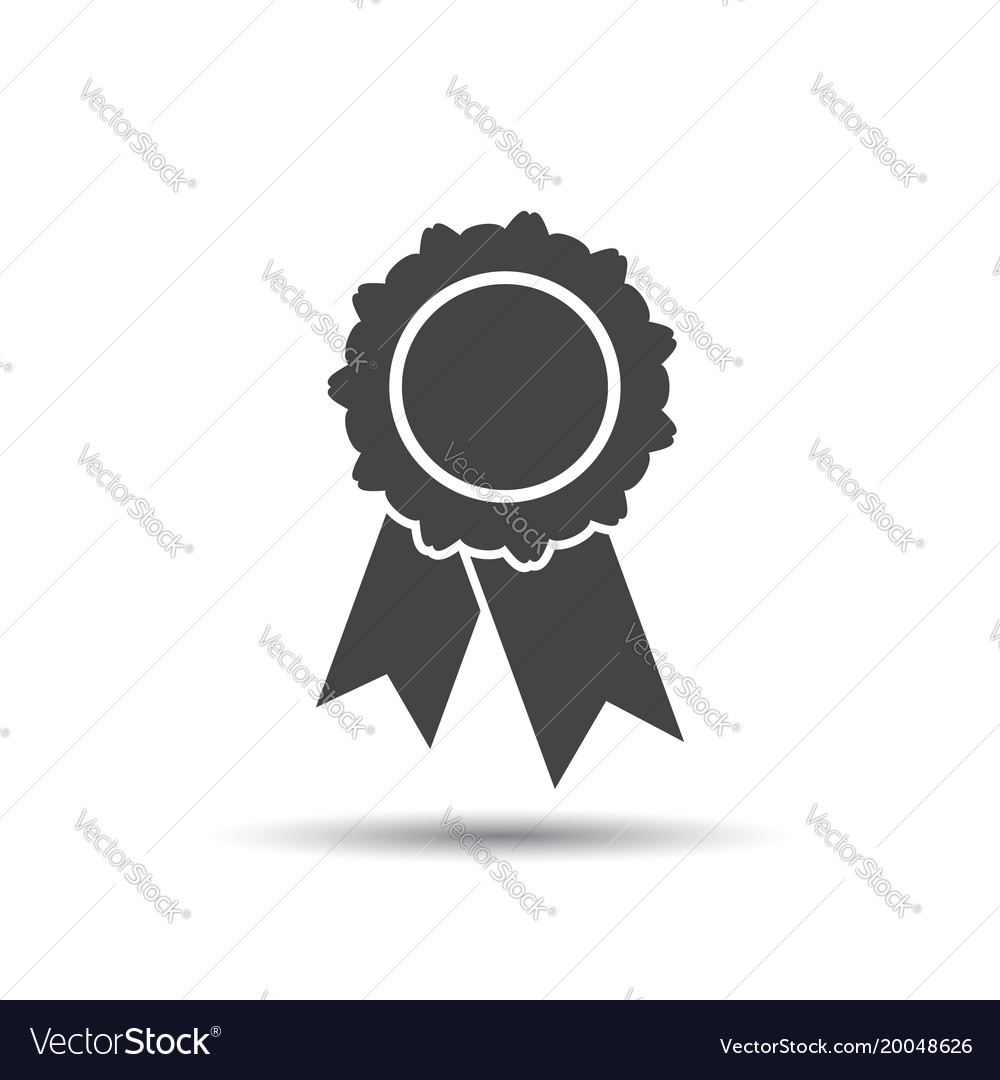 Badge with ribbon icon in flat style on white