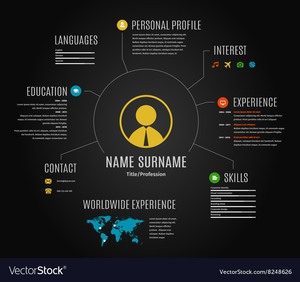 Dark Resume Web Infographic Template Royalty Free Vector