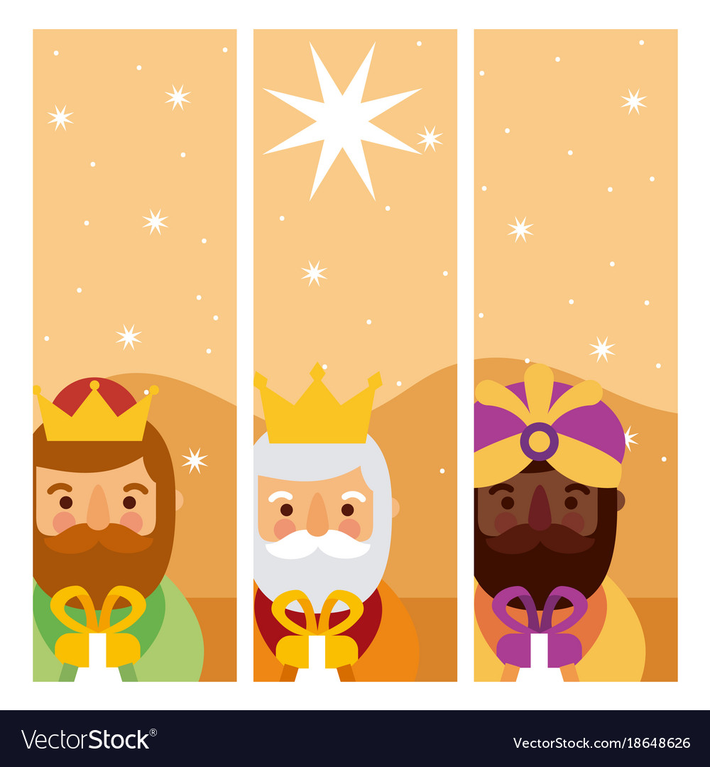Feliz dia de los reyes three magic kings bring vector image