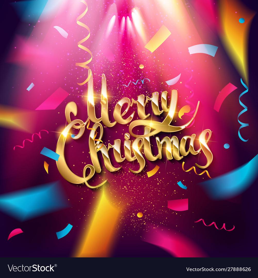 Golden text merry christmas