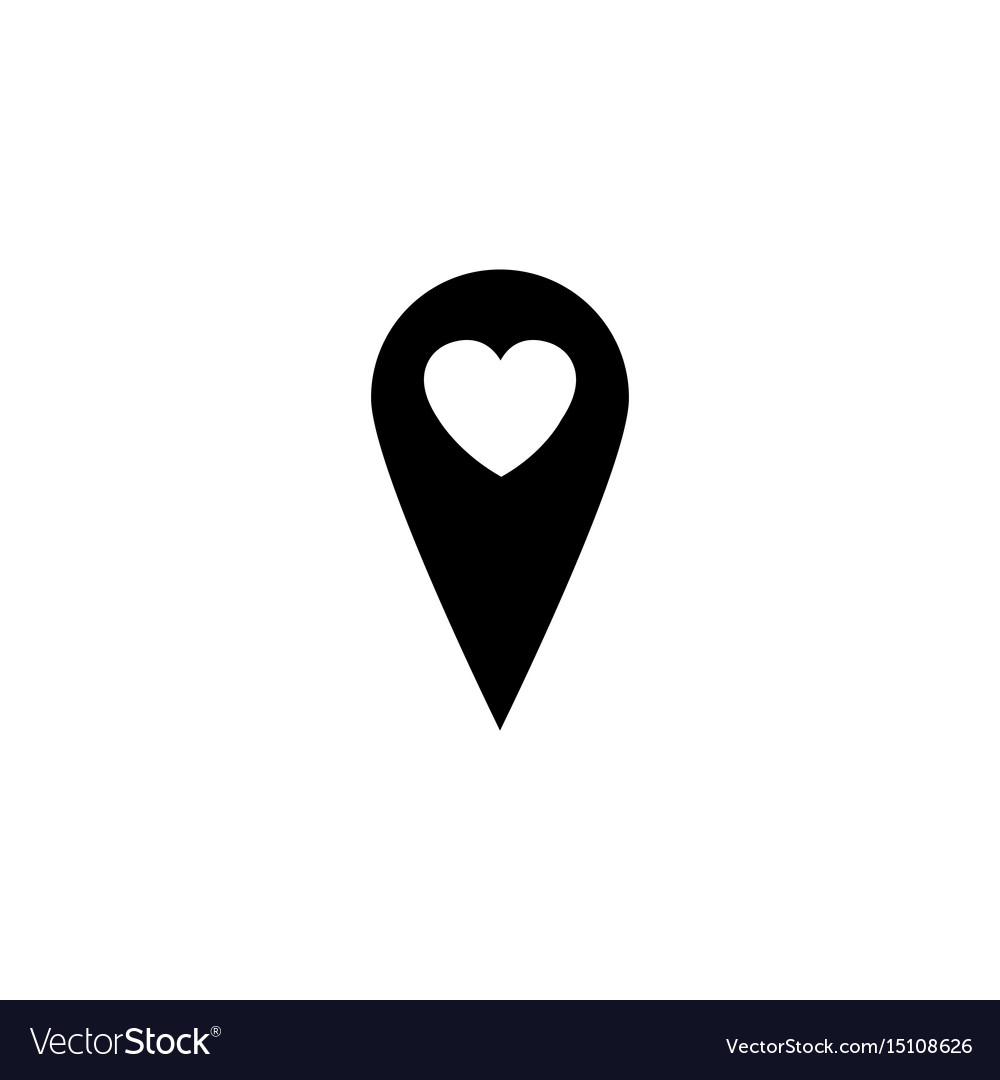 Map Pointer With Heart Solid Icon Royalty Free Vector Image