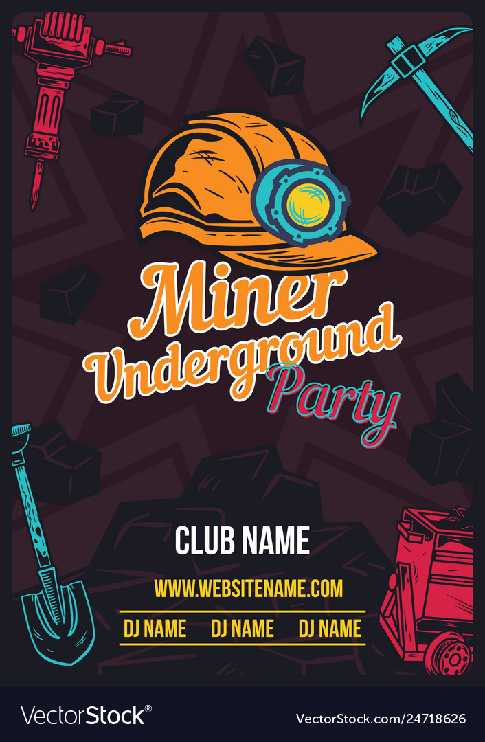 Poster design with of miners helmet