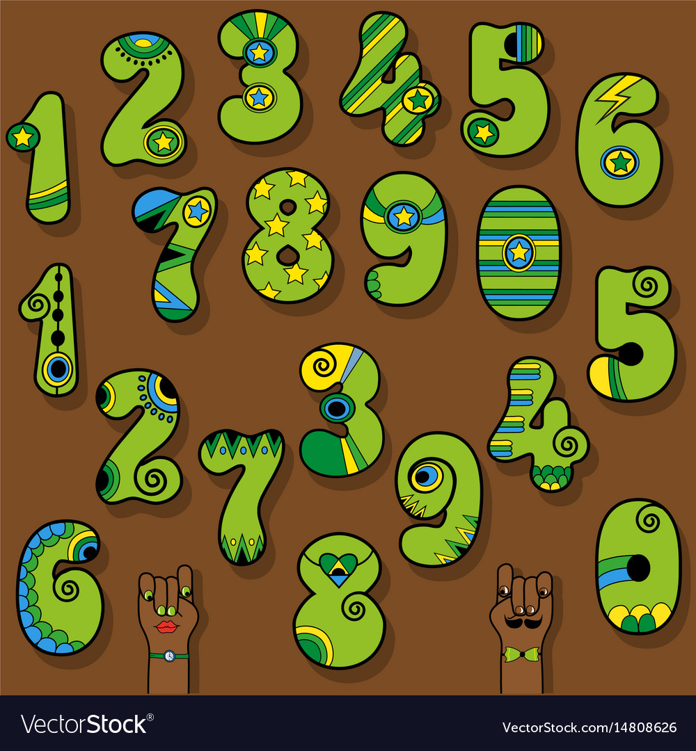 Set of vintage numerals green numbers with bright