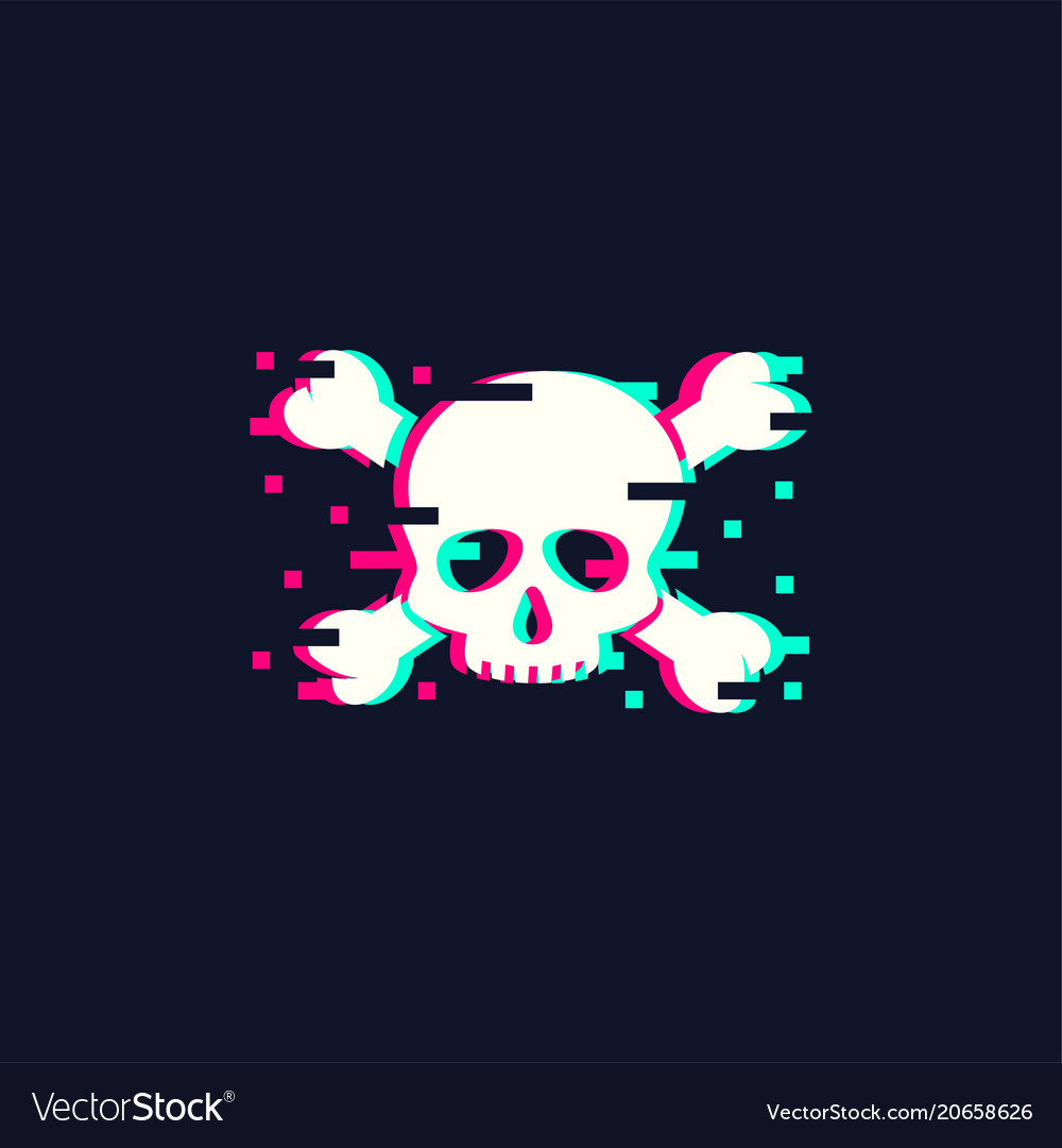 Skull in trendy glitch style
