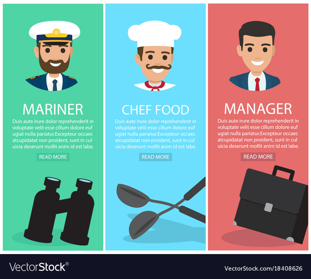 Three upright images of professions with equipment vector image