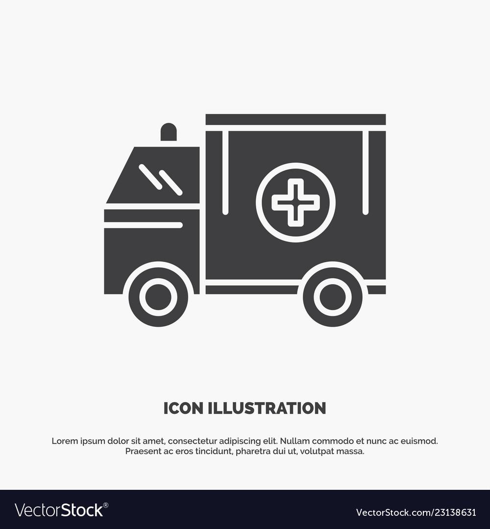 Ambulance truck medical help van icon glyph gray