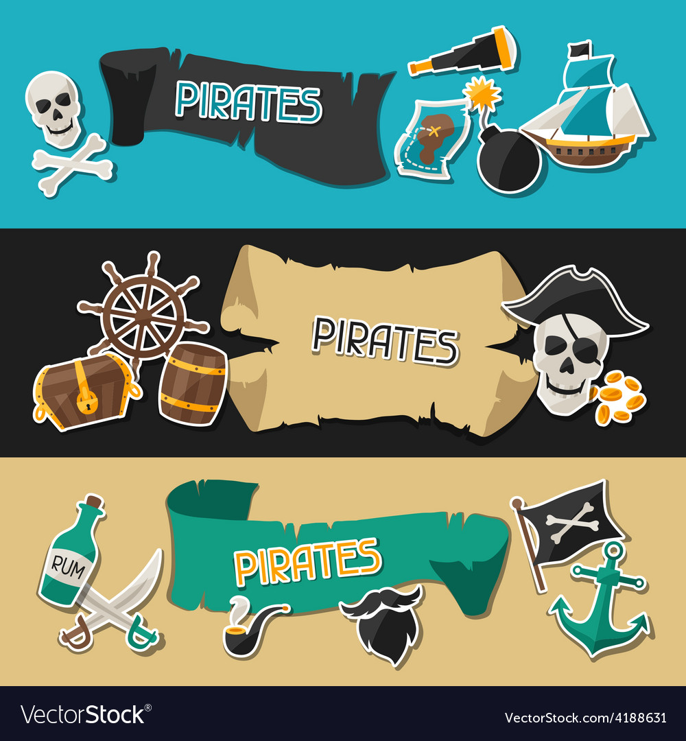 Banners on pirate theme with stickers and objects vector image
