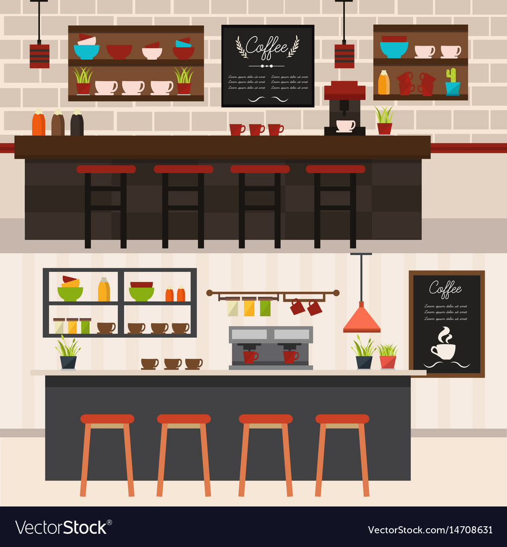 Coffee shop interiors horizontal banners