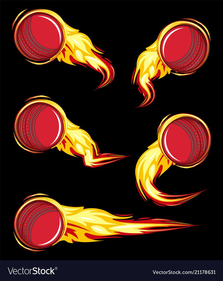 Cricket ball on the fire symbols speed set