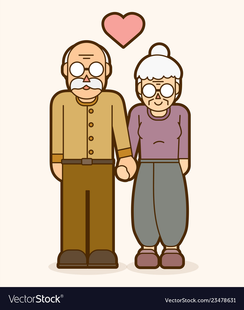 Grandfather and grandmother holding handscouple