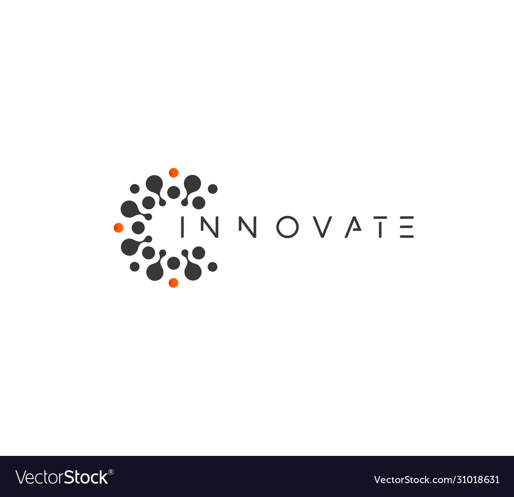 Innovate technology startup logo concept round
