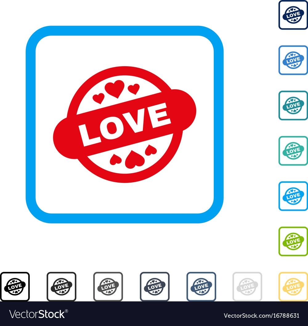 Love stamp seal framed icon vector image