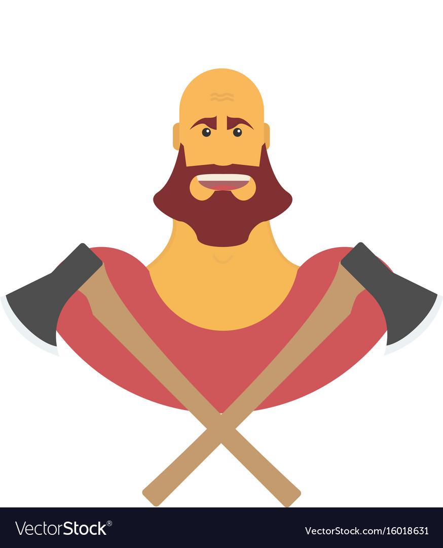 Lumberman bold man with beard strong cartoon with