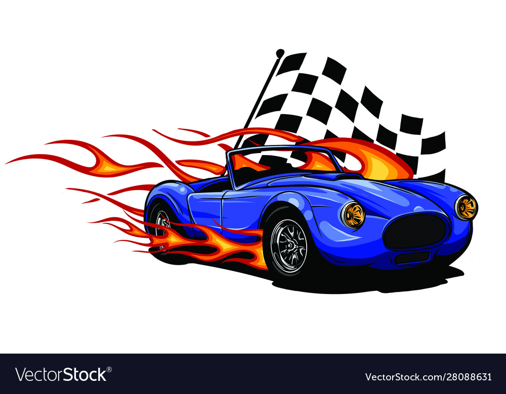 Muscle car with flames and