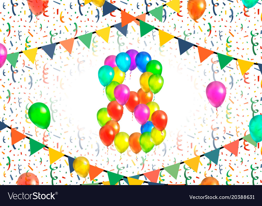 Number eight made up from colorful balloons on
