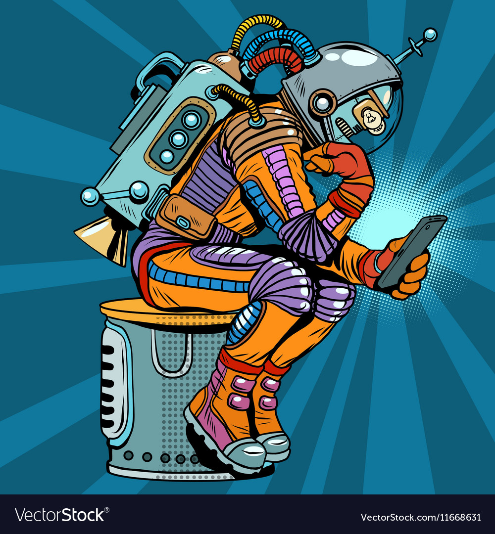 retro robot astronaut in the thinker pose reads vector image