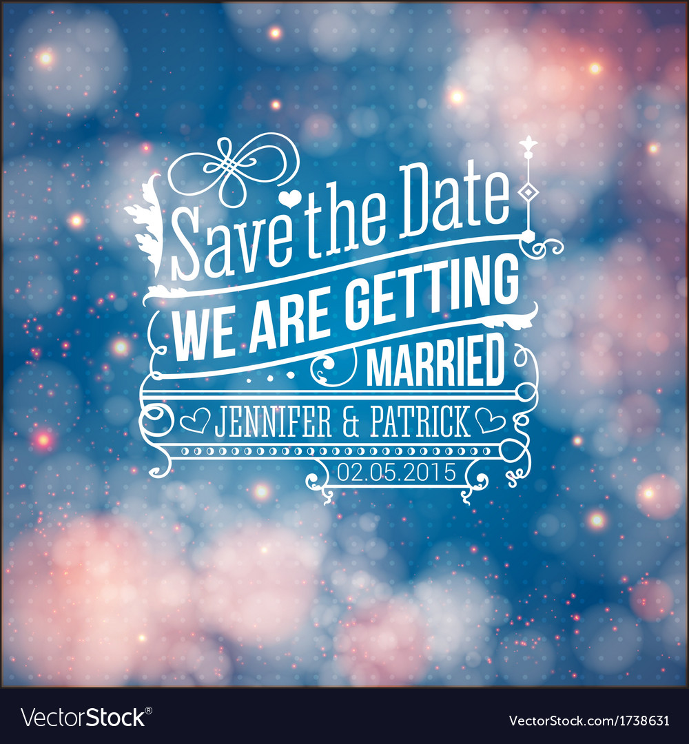 Save the date for personal holiday Wedding vector image
