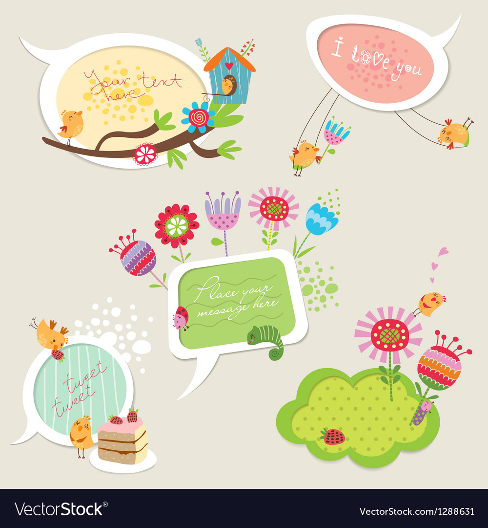 Set of colorful speech bubbles with birds