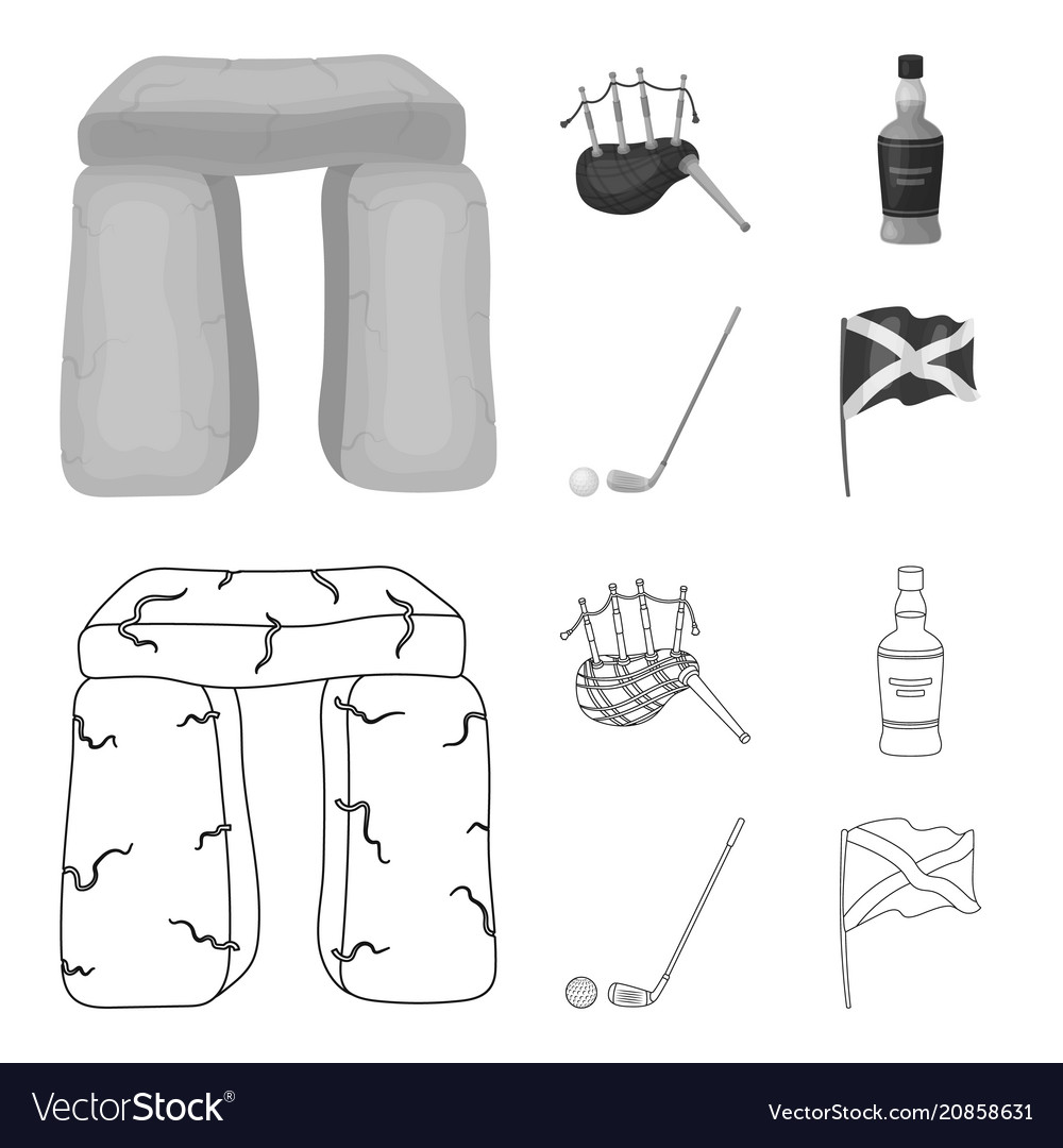 Stone monument bagpipe whiskey golf scotland vector image