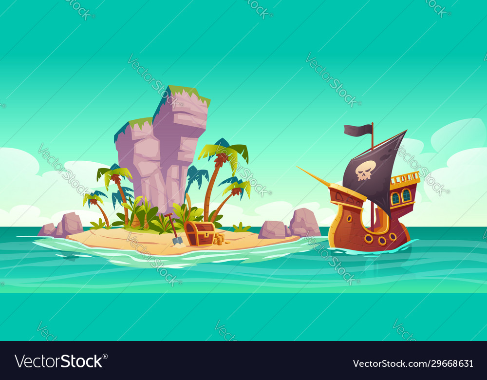 Tropical island treasure chest and pirate ship