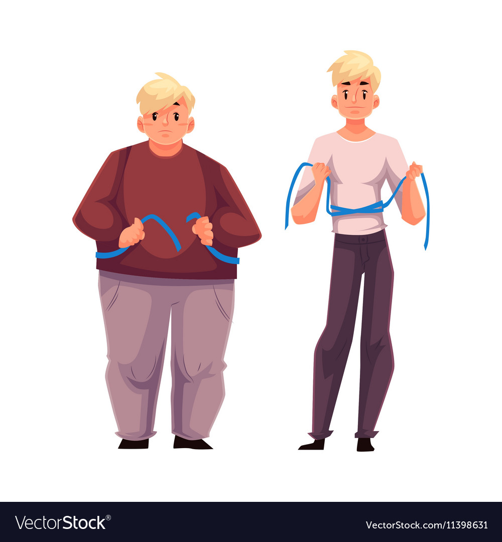 Two Men Fat And Athletic Measuring Waist With