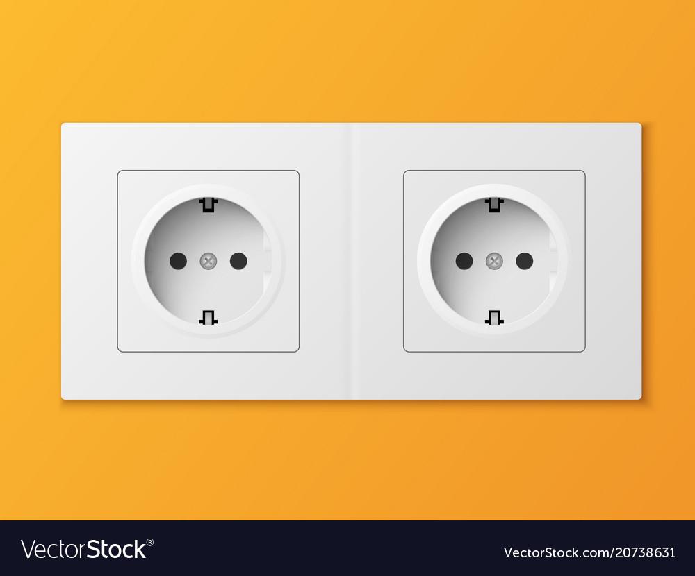 White double power socket on orange wall