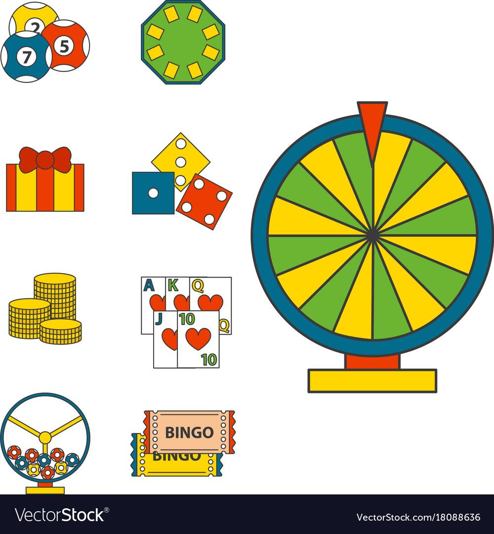 Casino game icons poker gambler symbols blackjack