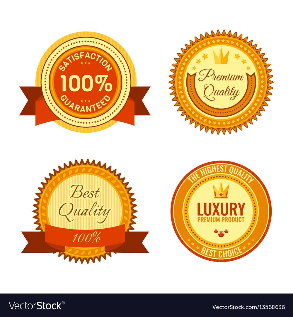 Golden round reward seals collection with