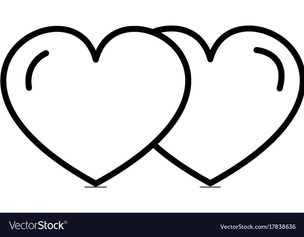 Love hearts line icon sign