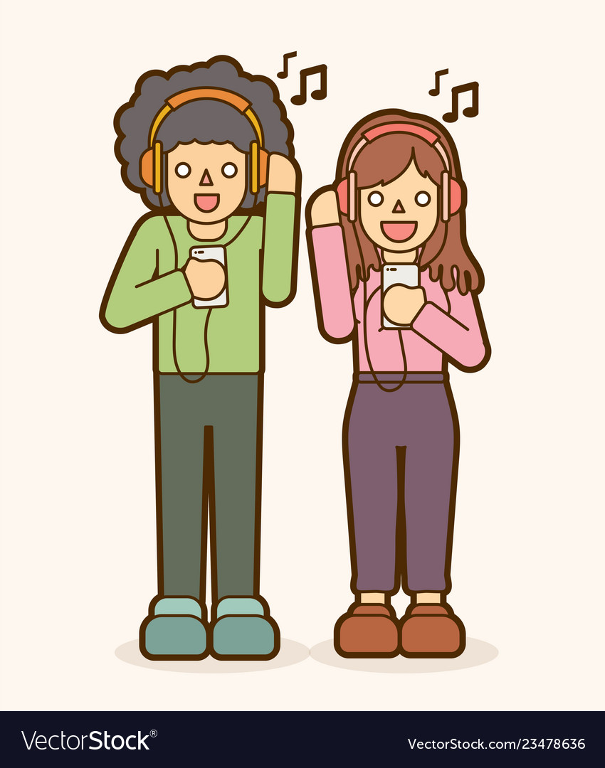 Man and woman listening song together friendship