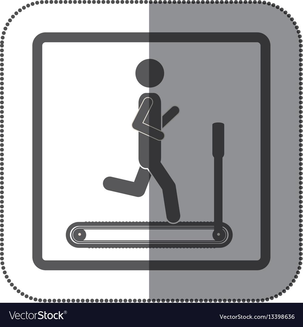 Person jogging on a machine icon vector image