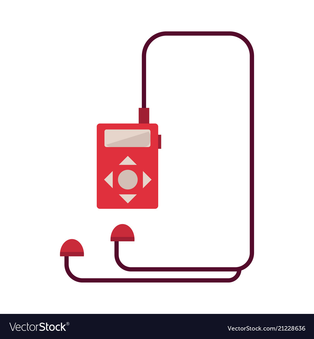 Red music player with headphones isolated on white