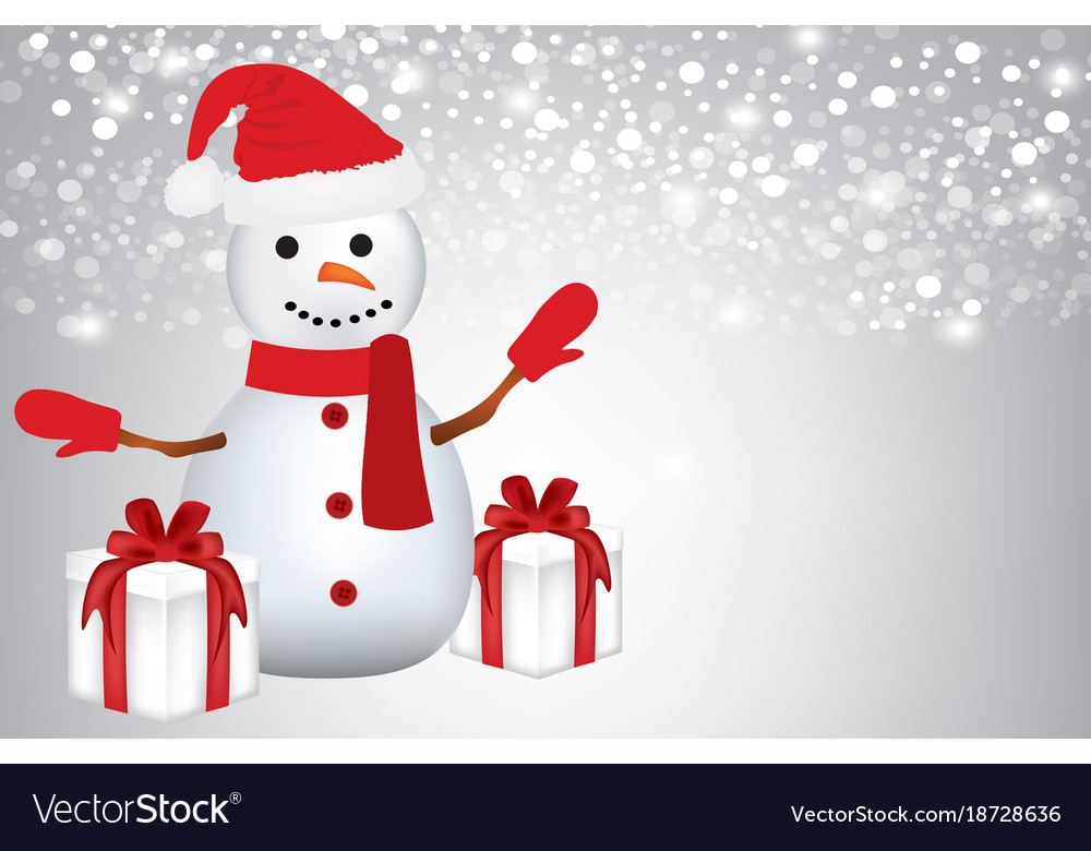 Snowman with presents on blurred background