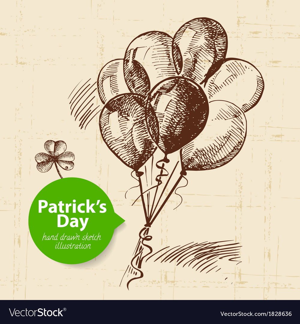 St Patricks Day background with hand drawn sketch vector image