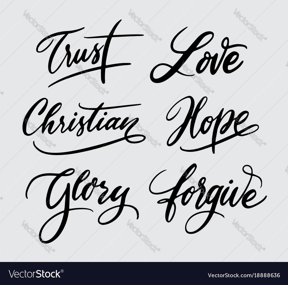 Trust and hope handwriting calligraphy