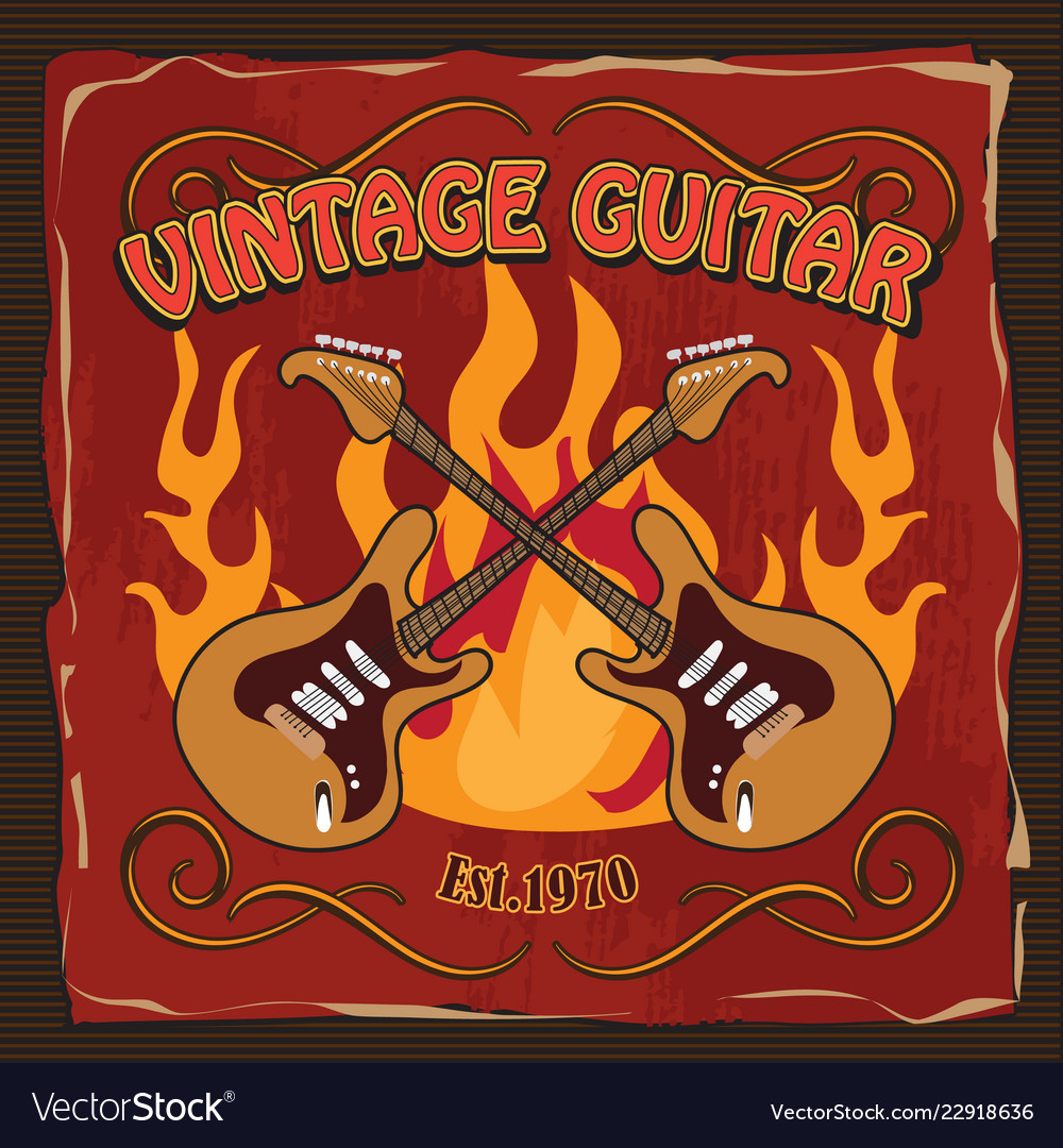 Vintage guitar rock poster t-shirt hand drawn