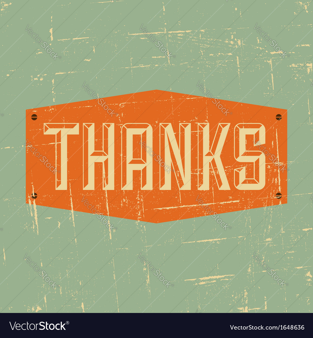 Vintage style thank you greeting card design vector image m4hsunfo