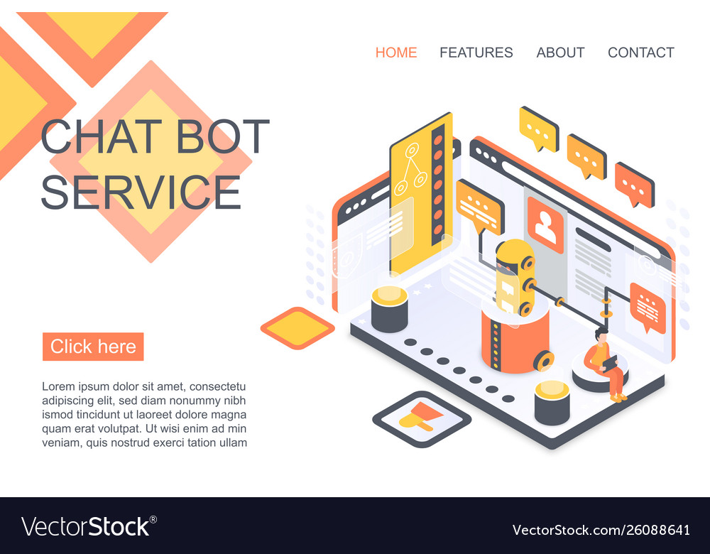 Chat bot service isometric landing page
