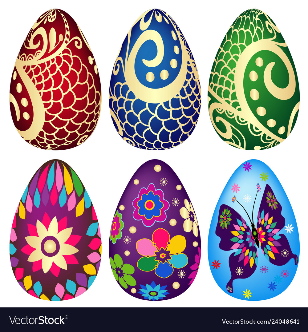 Festive set of decorated easter eggs on