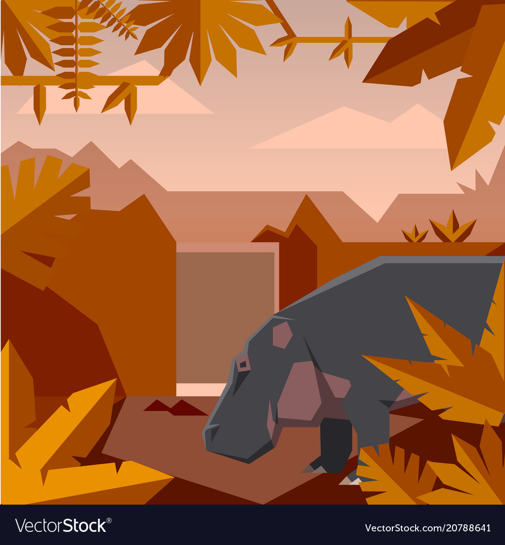 Flat geometric jungle background with hippopotamus vector image