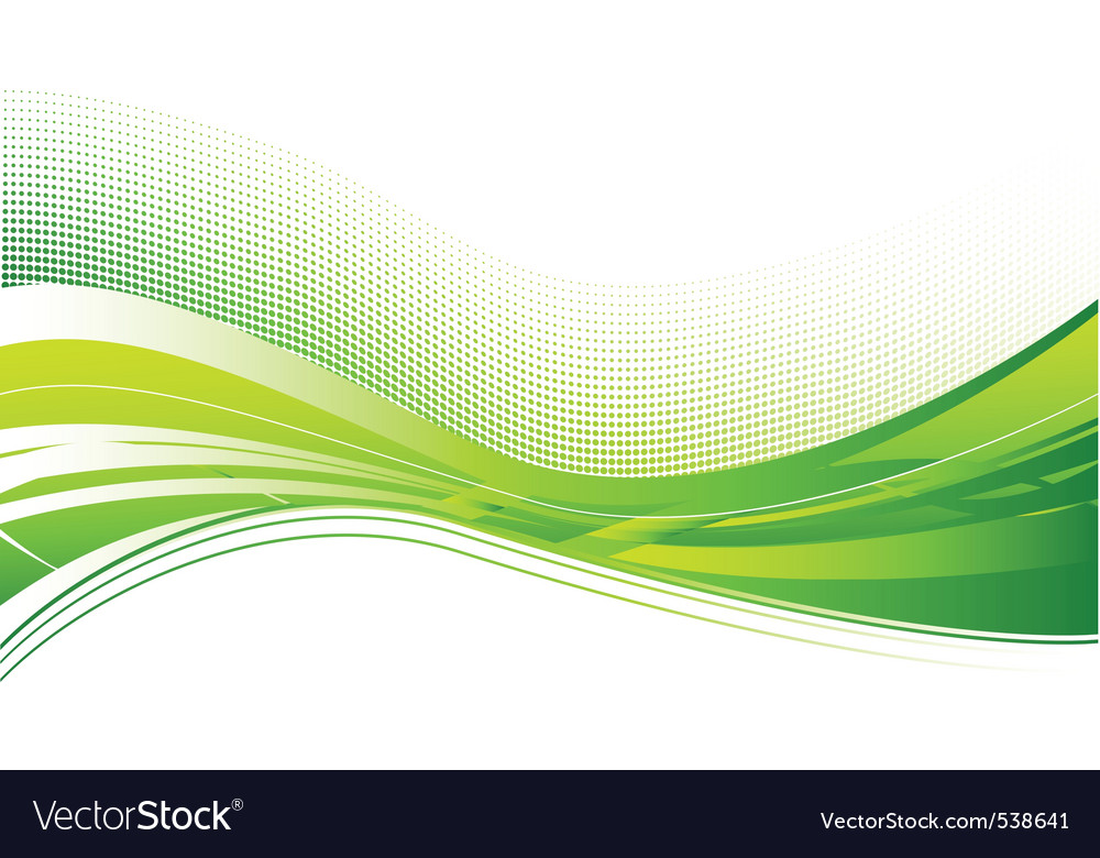 Green wave background on white