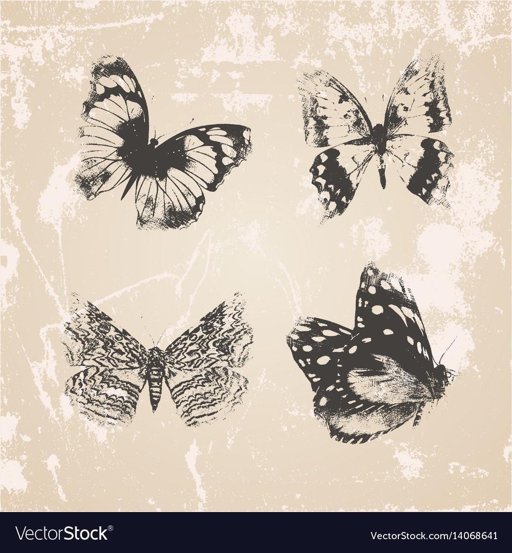 Grunge butterflies silhouettes