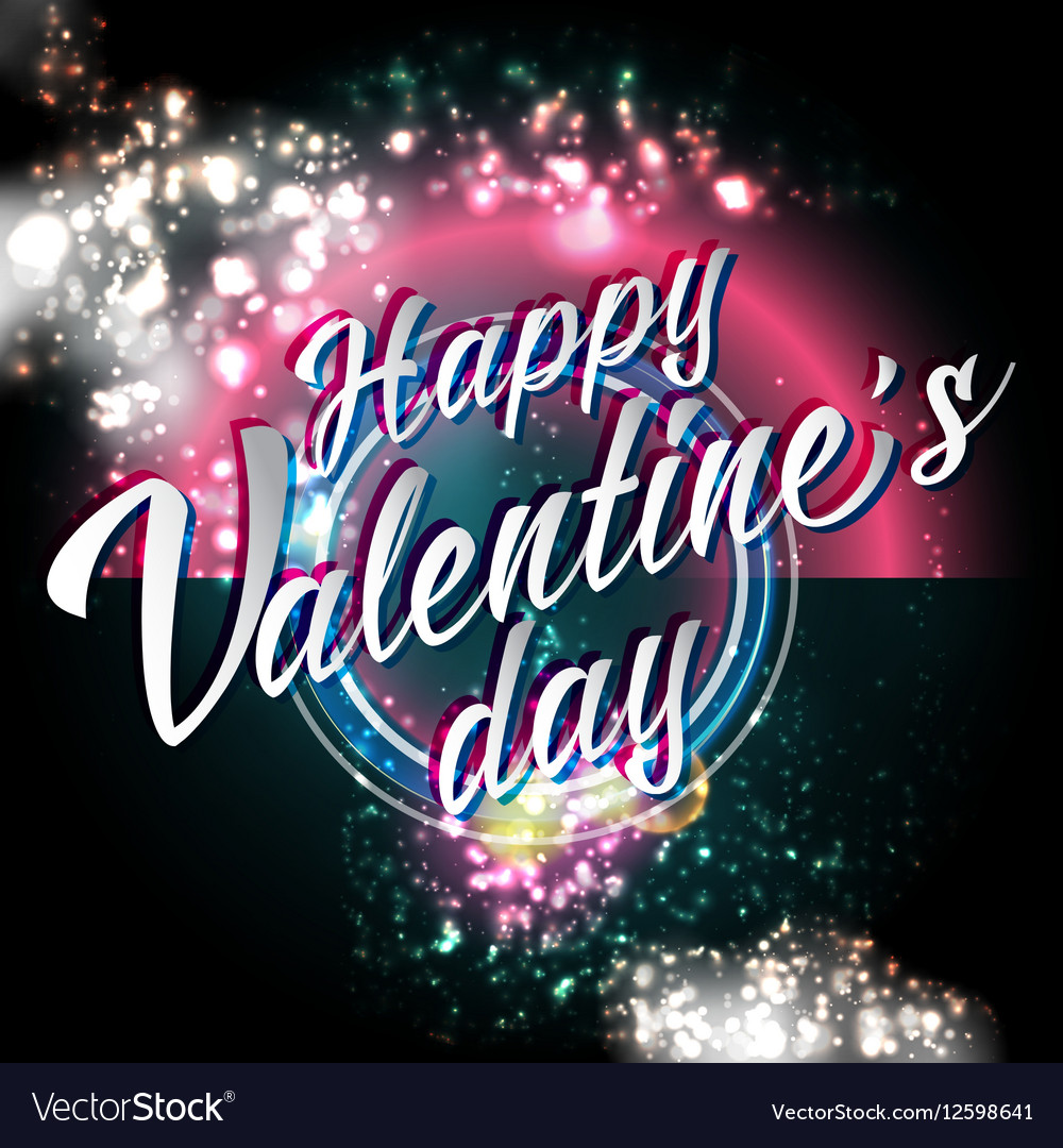 Happy Valentines Day Lettering Party Flyer vector image