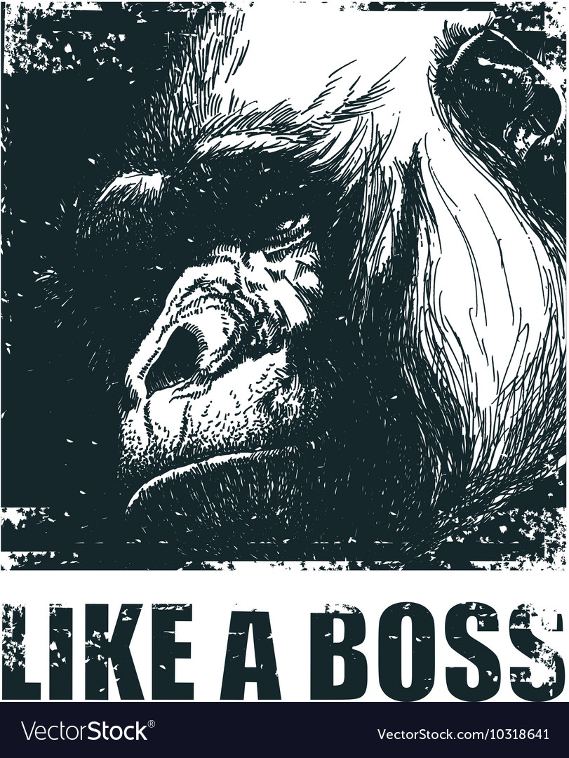 Monkey Face With Like A Boss Inscription vector image