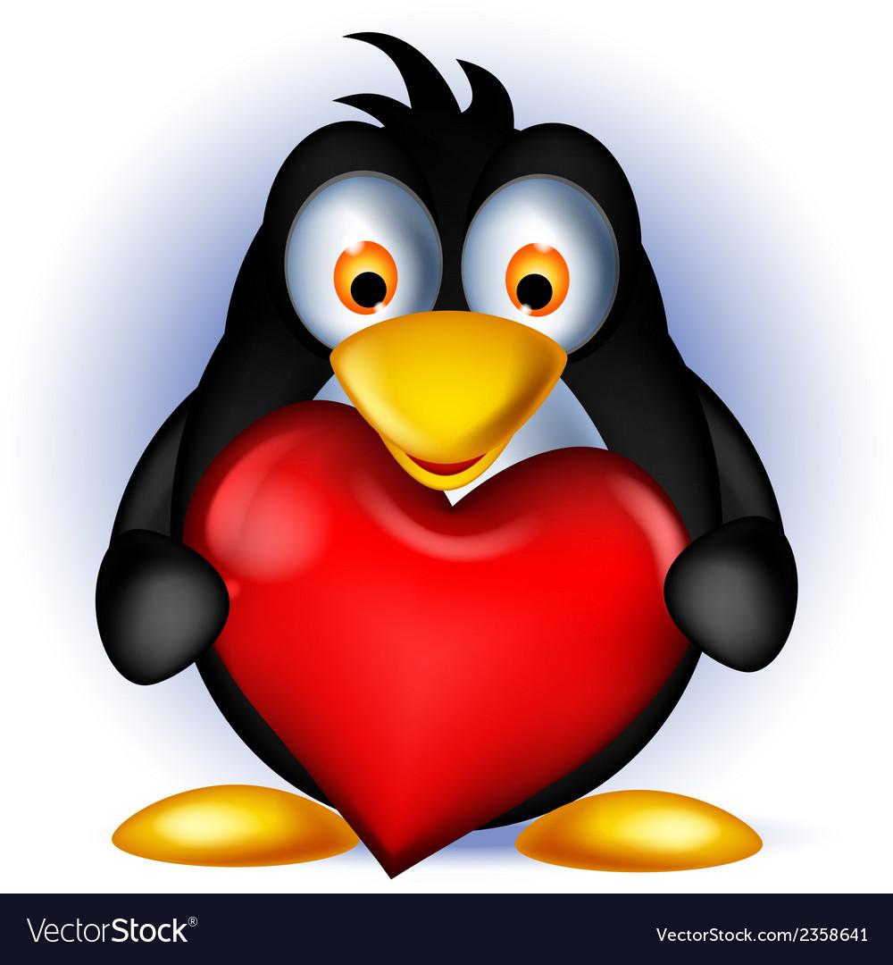Penguin cartoon holding heart love