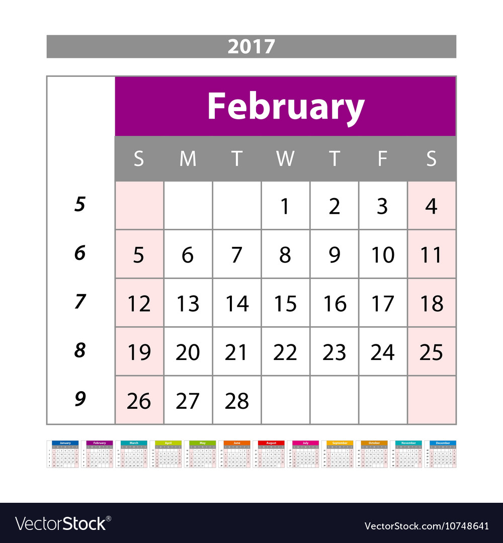 picture about Monthly Planning Calendar named Designing calendar February 2017 Every month scheduler