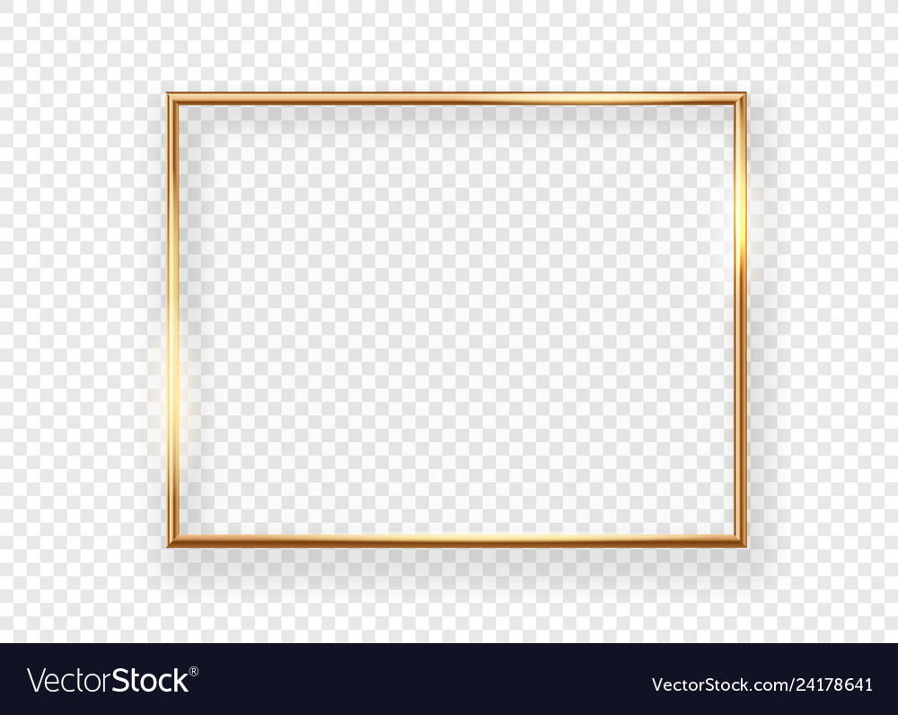 Realistic gold horizontal shining photoframe on a
