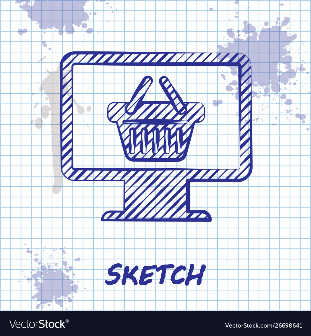 Sketch line computer monitor with shopping basket