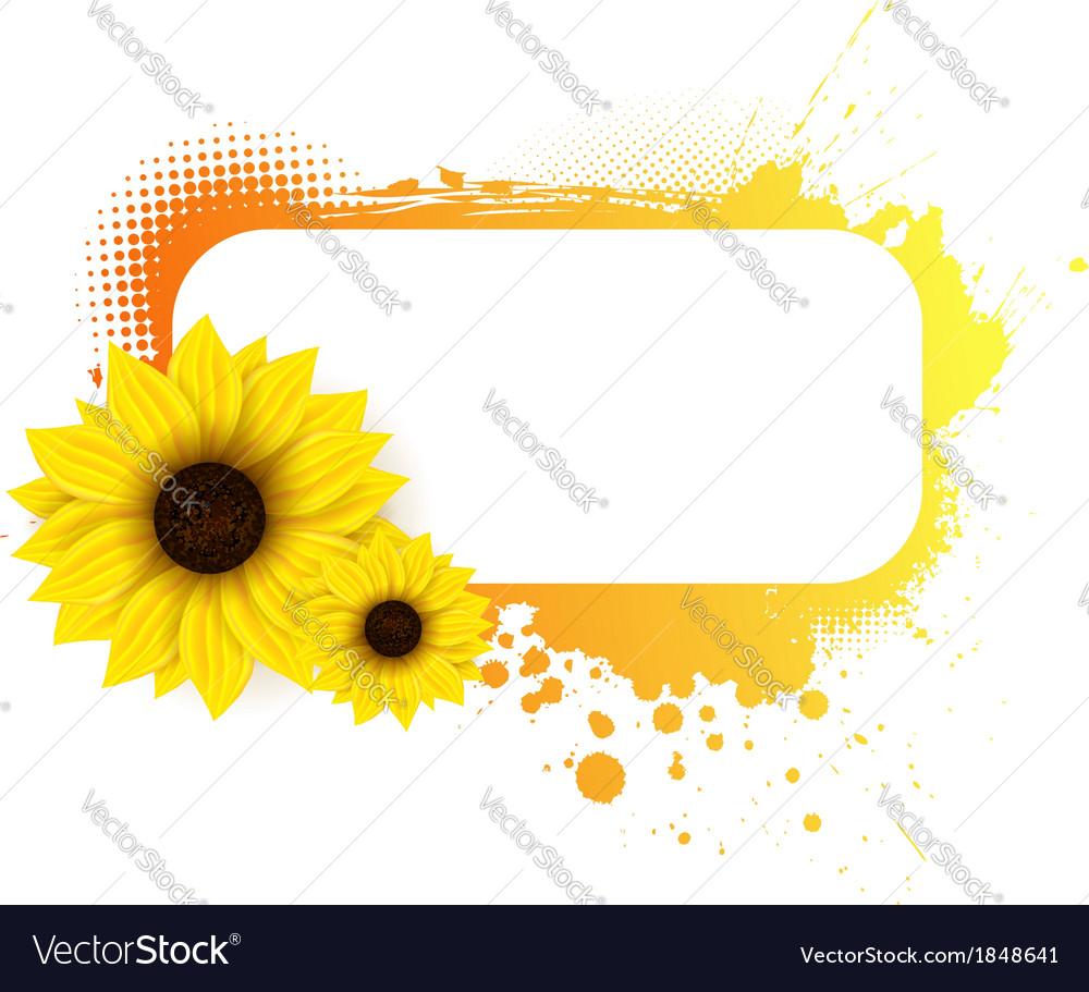 Sunflower grunge frame Royalty Free Vector Image