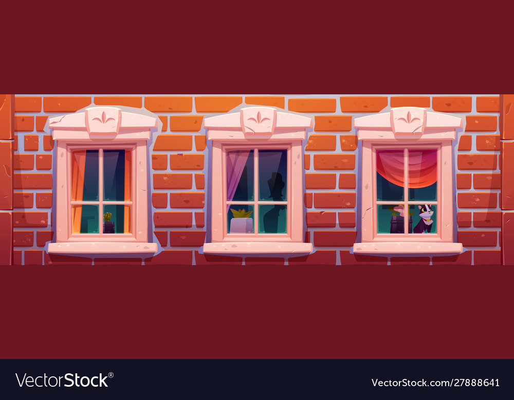 Windows house or castle brick wall facade
